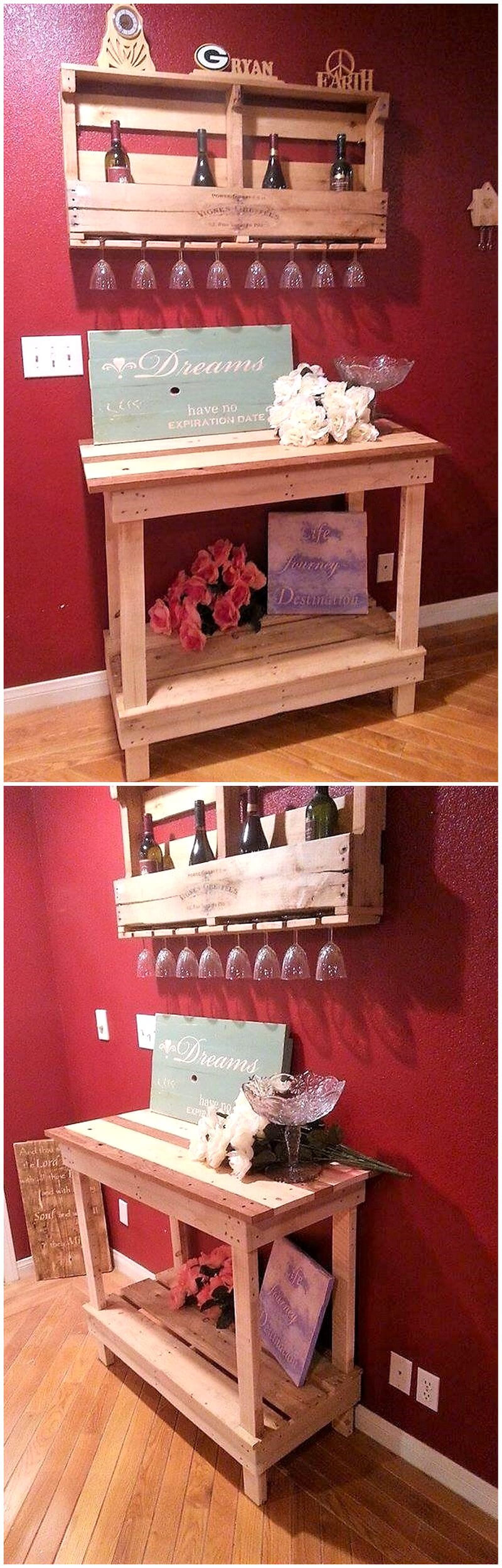 pallets entryway table and wall bar