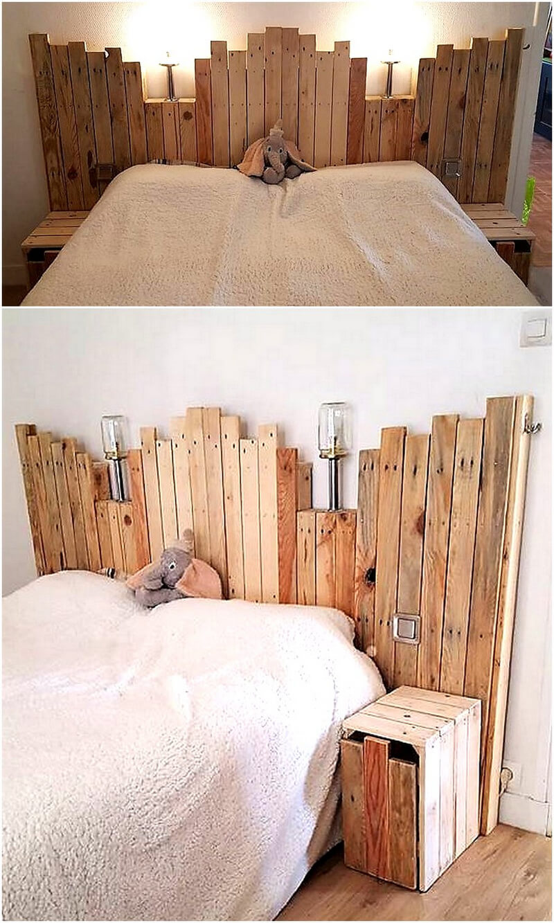 pallets made bed headboard