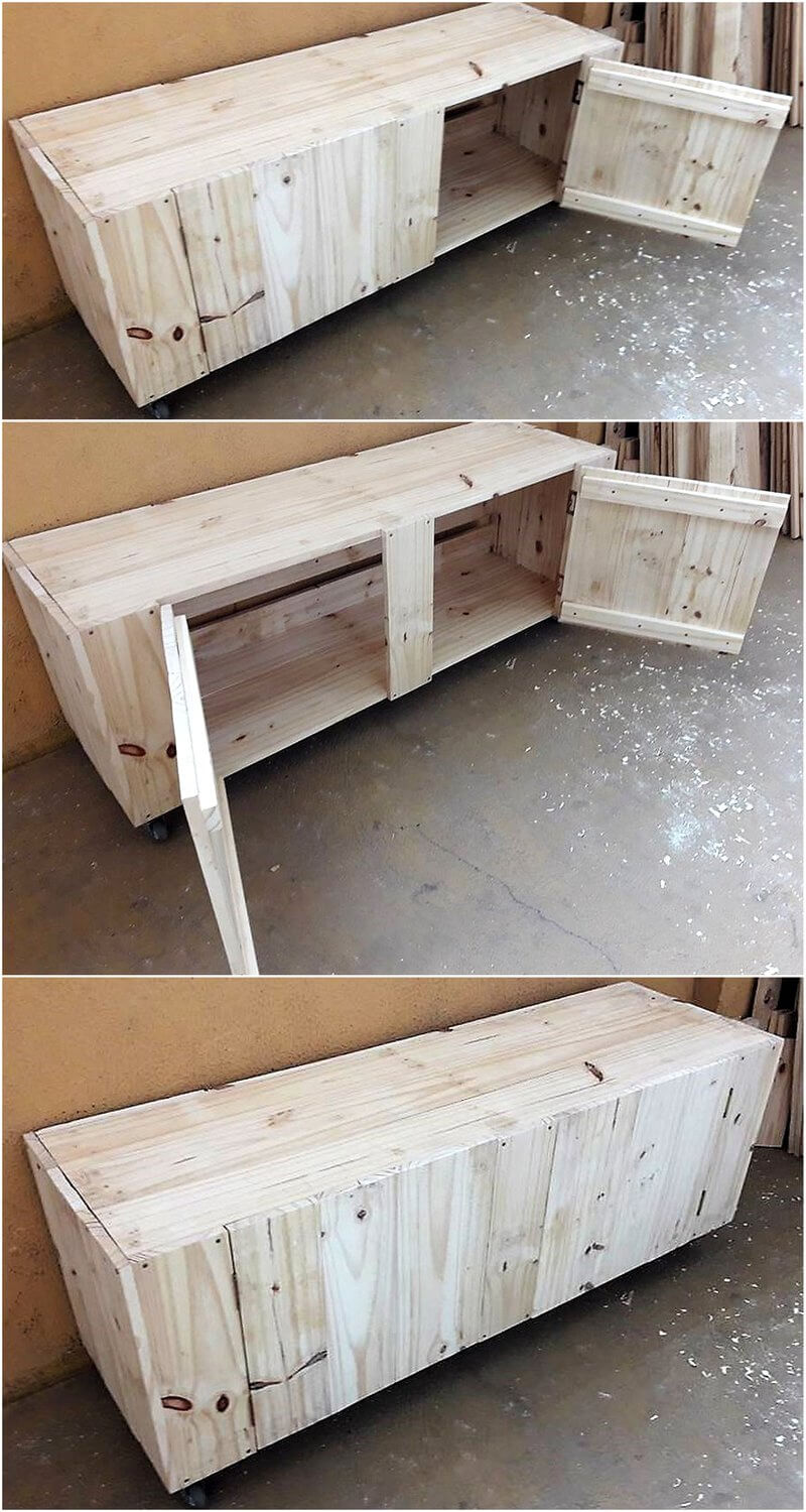pallets tv stand on wheels