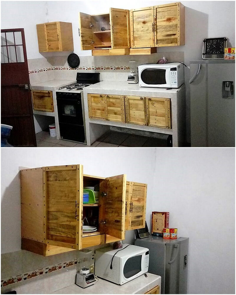 pallets wooden kitchen racks