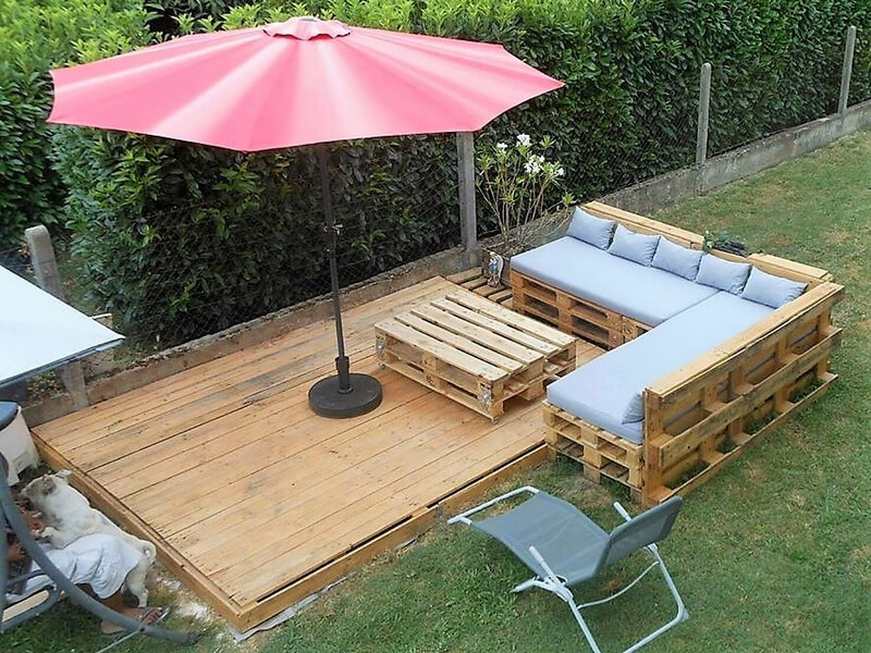 recycled pallet terrace garden lounge