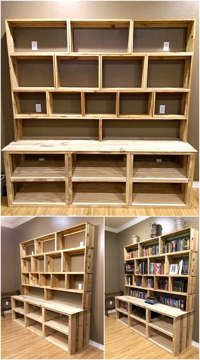 recycled pallets bookshelf