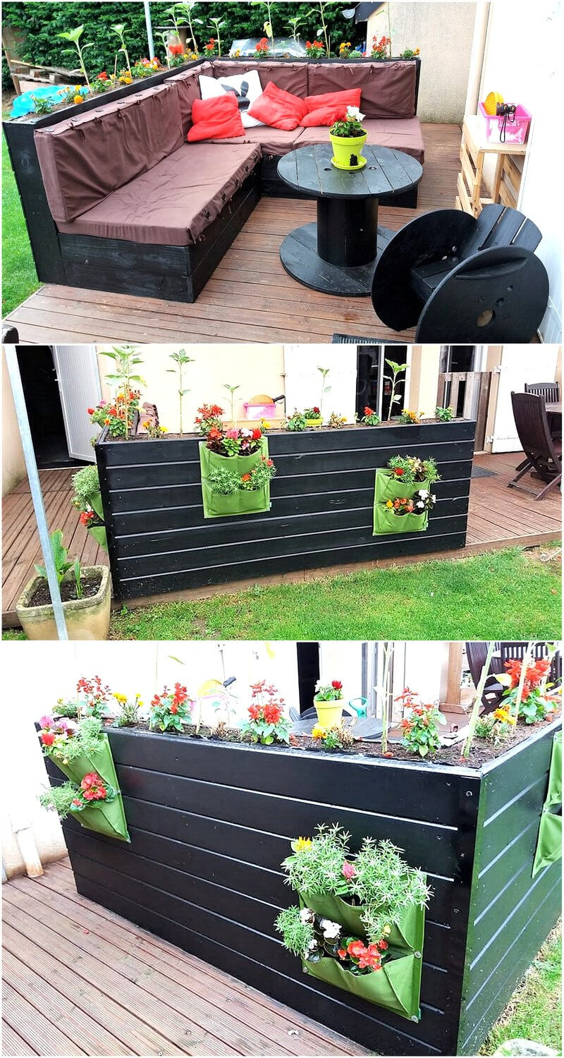 recycled pallets patio couch with backside planters