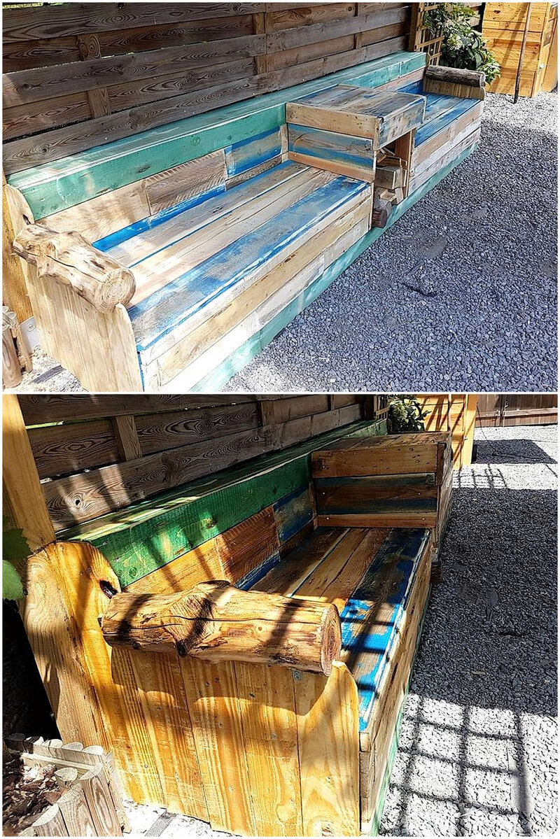 reused pallets patio giant bench