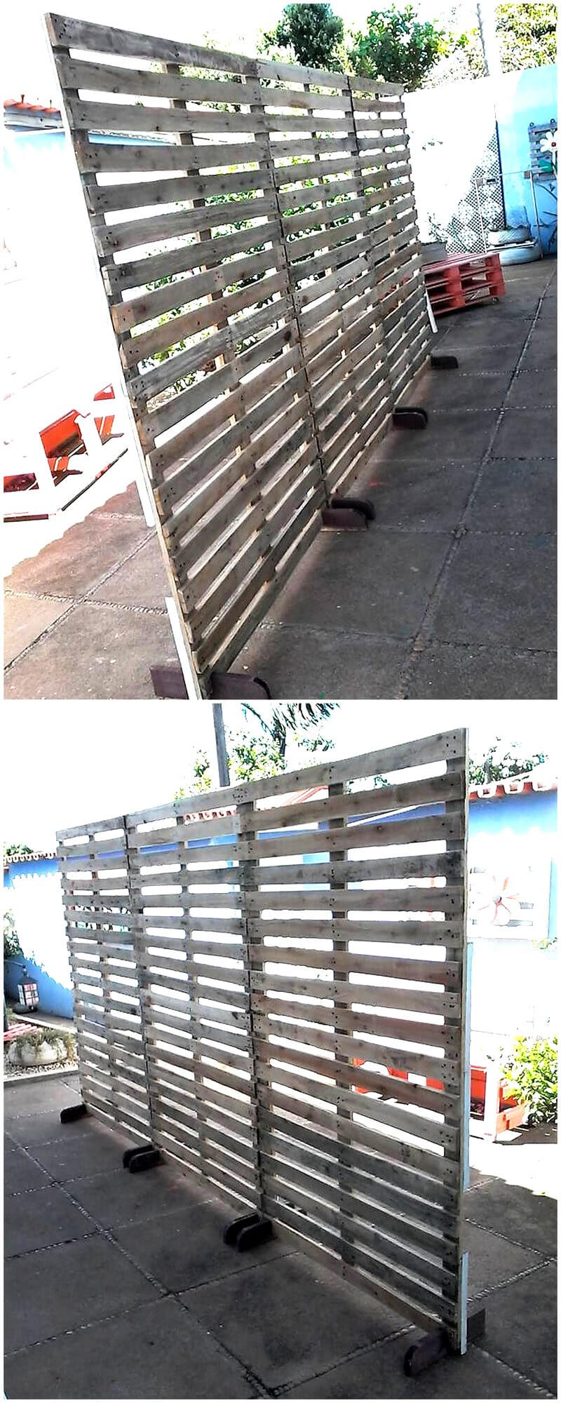 reused pallets space divider