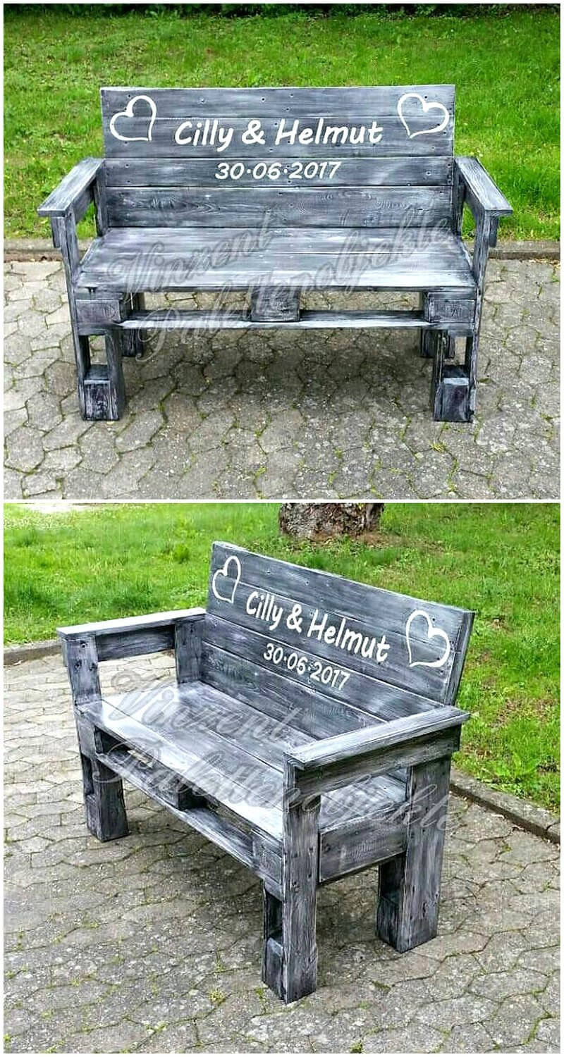 rustic pallets wooden garden bench