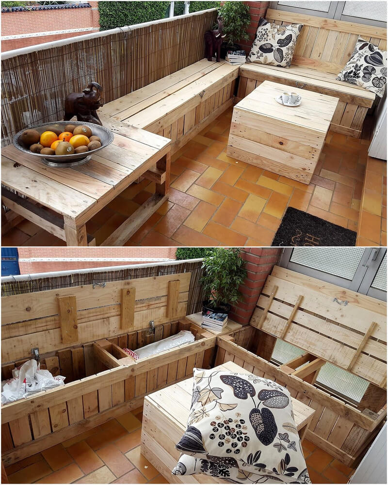 wood pallet balcony furniture set with storage