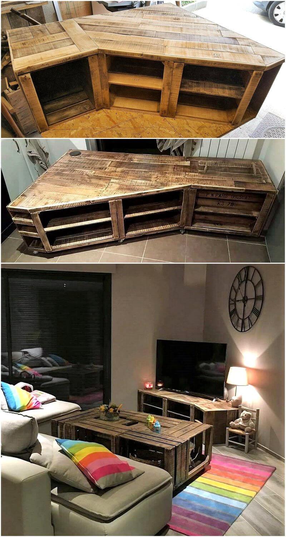 wood pallet corner cabinet