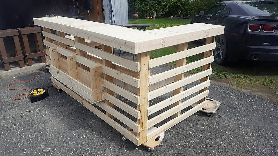Wood pallets garden bbq bar terrace pallet ideas