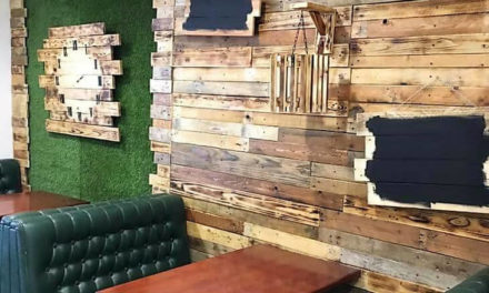 Reclaimed Wooden Pallet Wall Art in Cafe