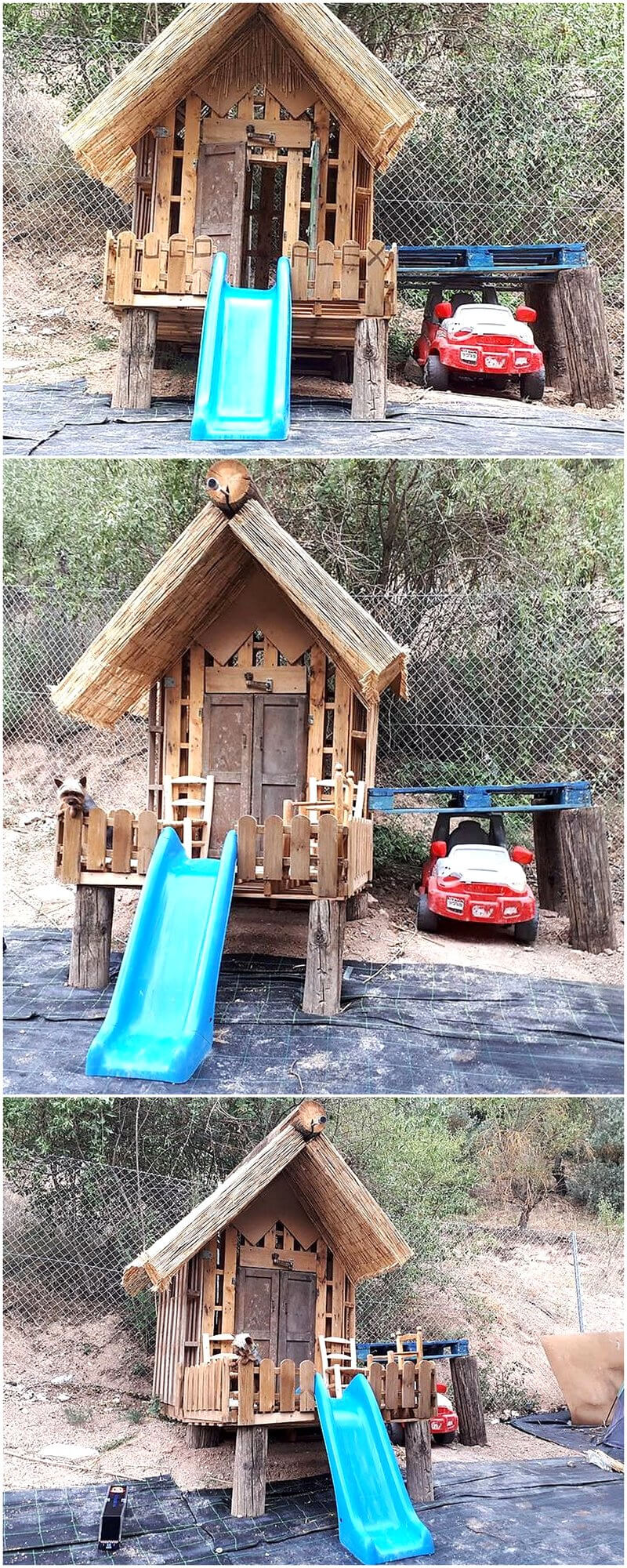 wood pallets patio kids playhouse