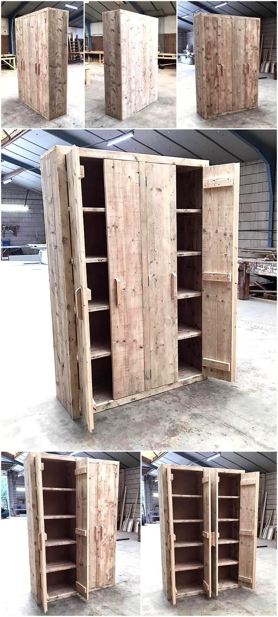 Pallets Wood Made Double Doors Closet Pallet Ideas