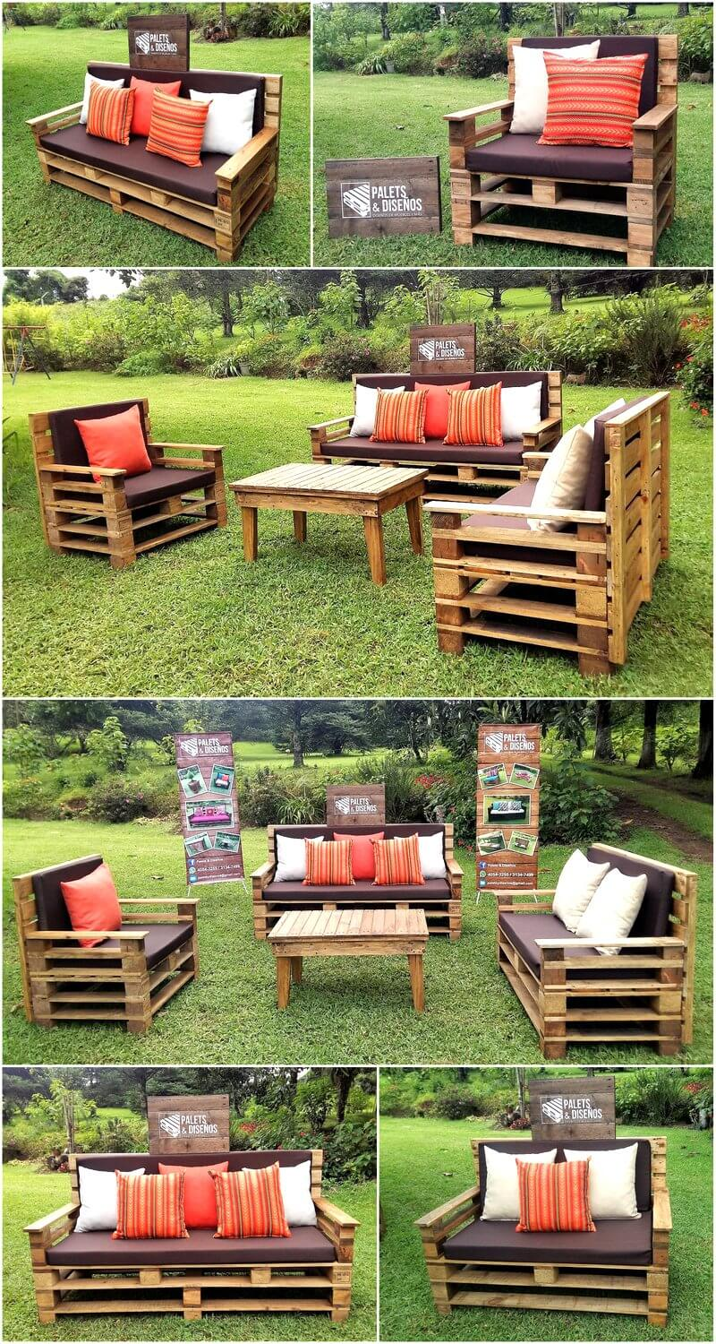 Recycled Wooden Pallet Patio Garden Sofa Set