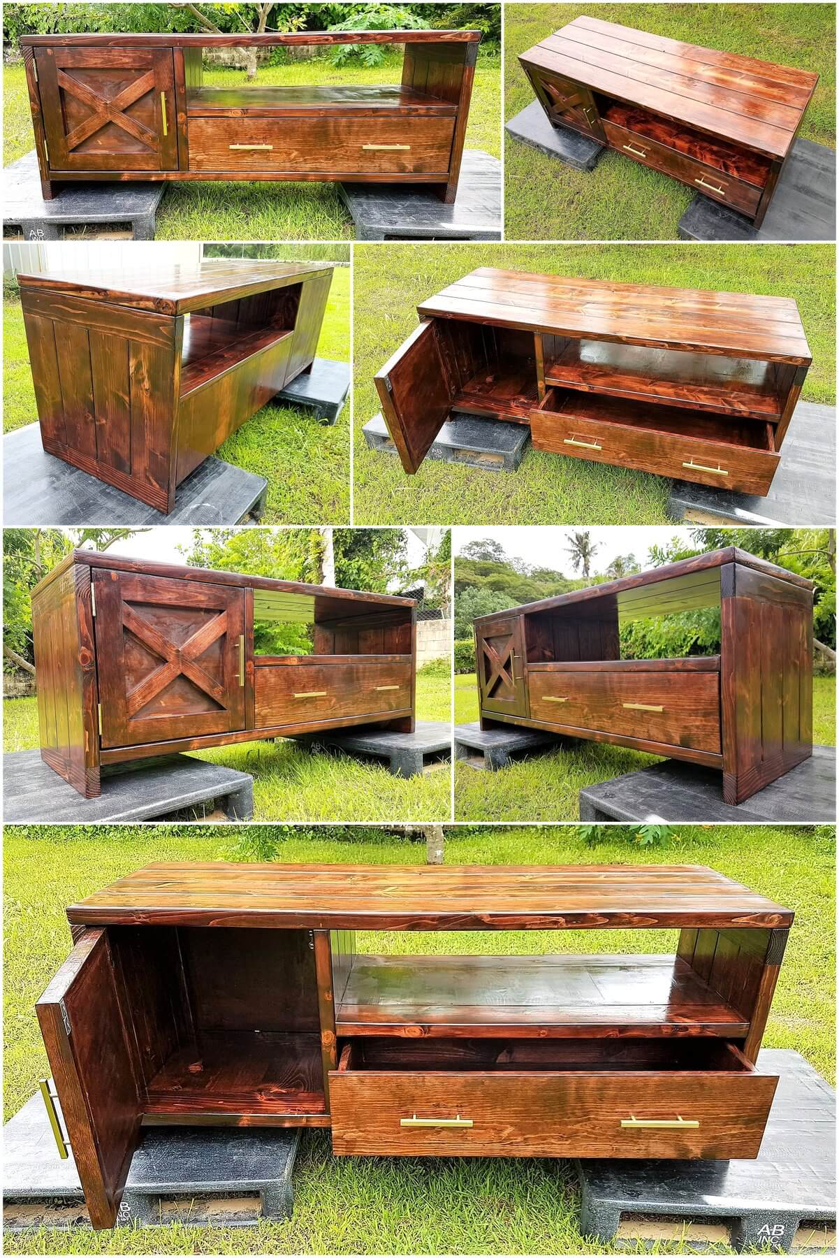 Repurposed Wooden Pallets Made TV Stand Idea