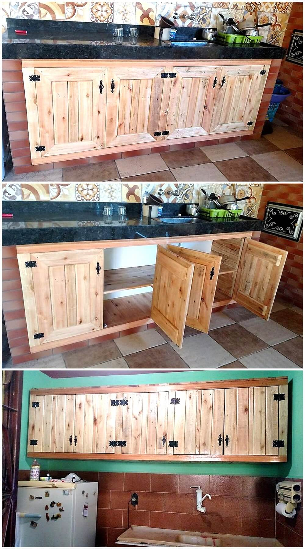 Wooden pallets kitchen storage cabinets pallet ideas for Pallet kitchen ideas