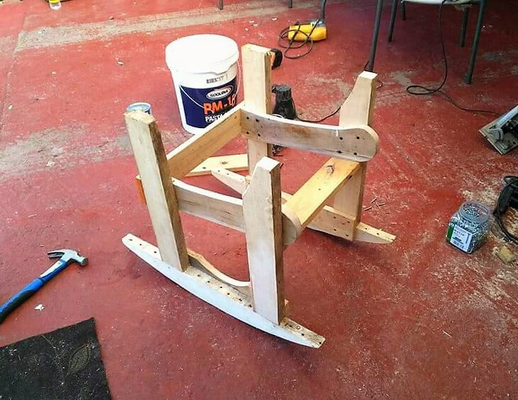 diy pallets made rocking chair