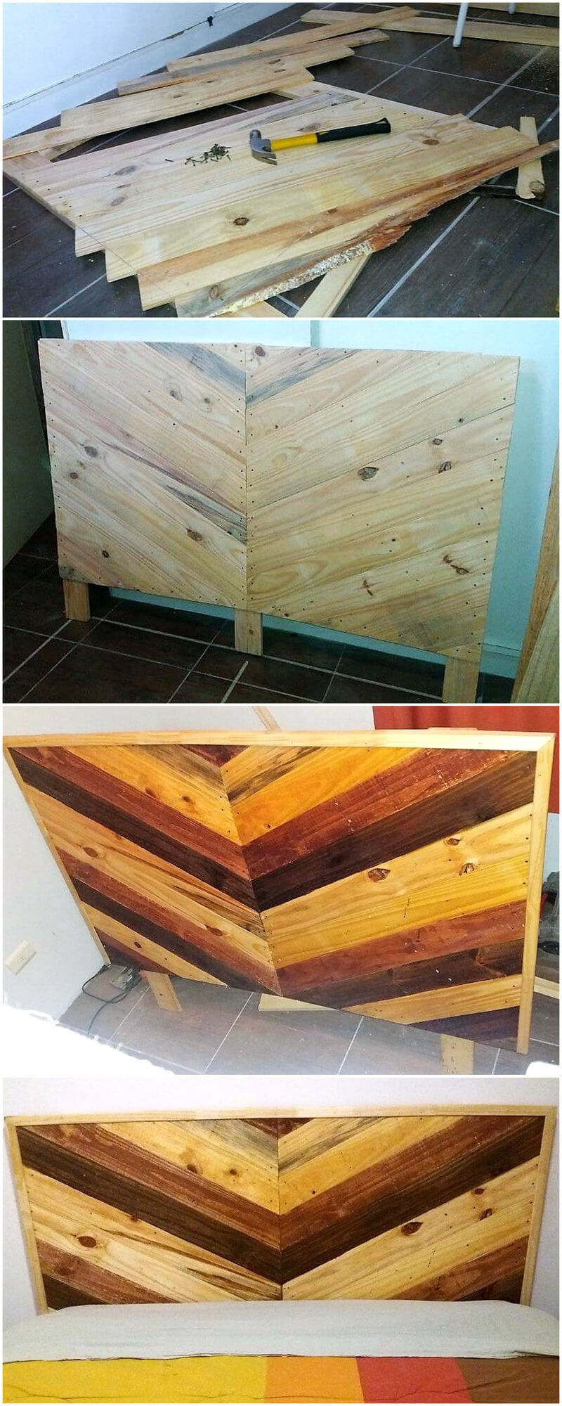 diy wooden pallets bed headboard