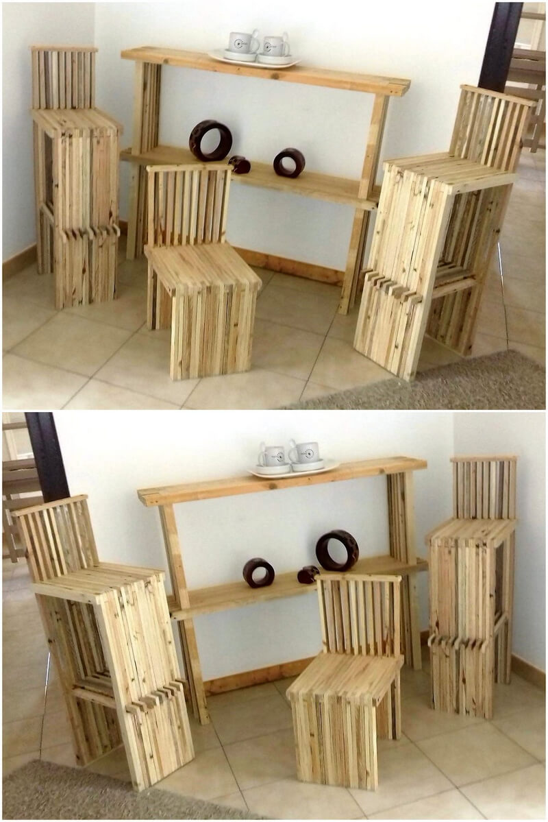 pallet corner furniture for coffee and tea serving