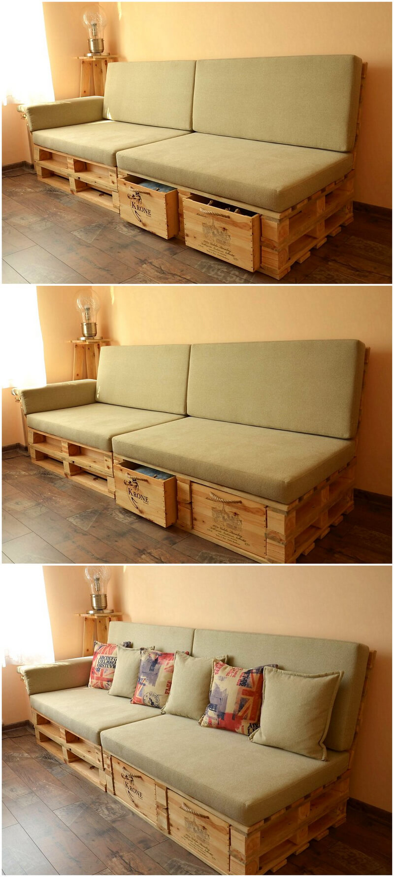 pallet wooden sofa with drawers