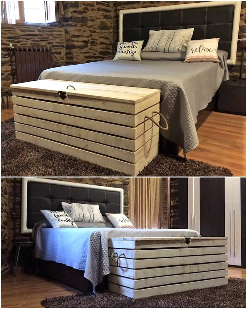 pallets bed linin, blankets storage box