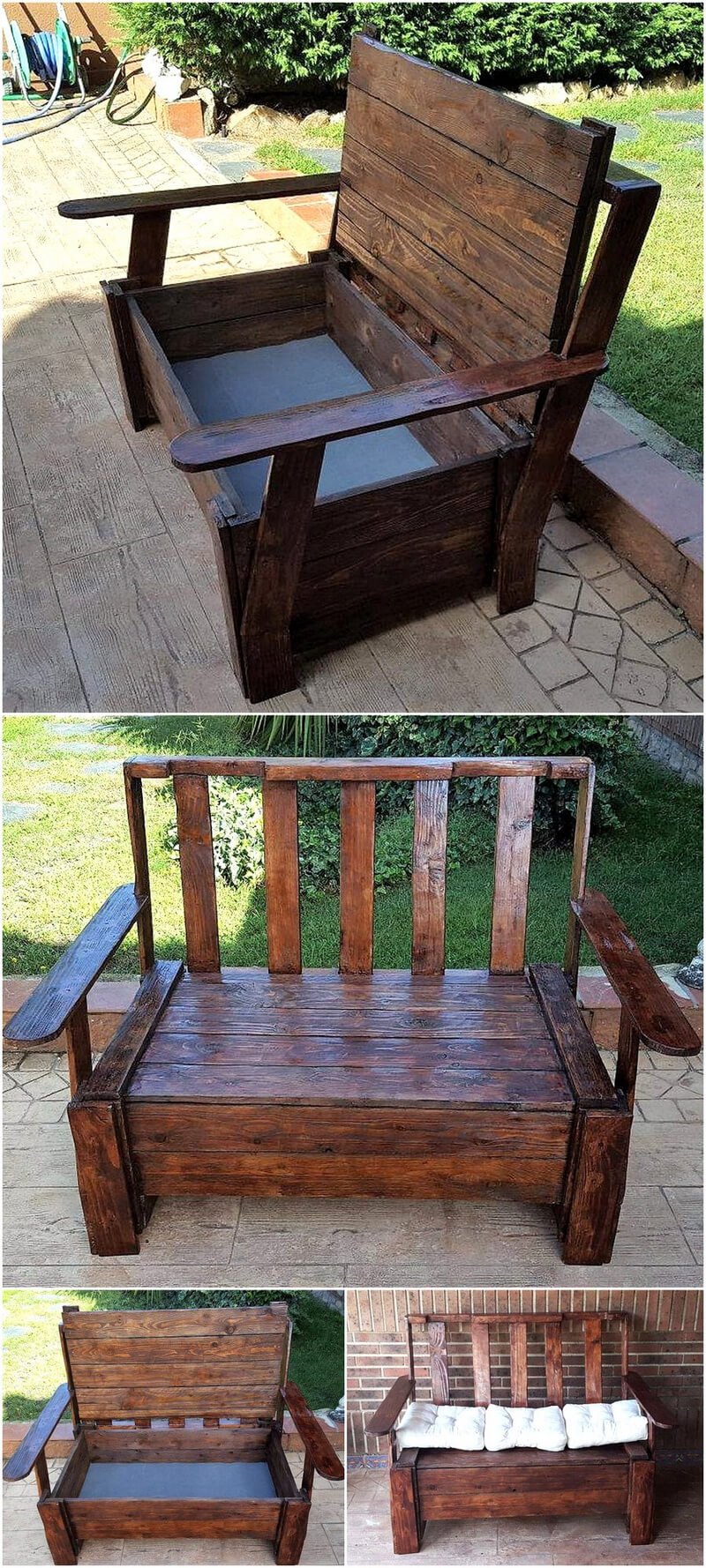 pallets bench with storage