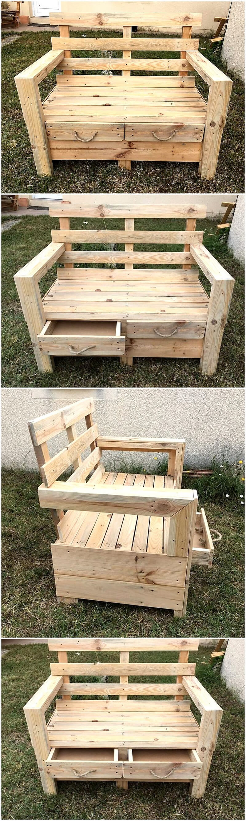pallets garden chair with storage drawers