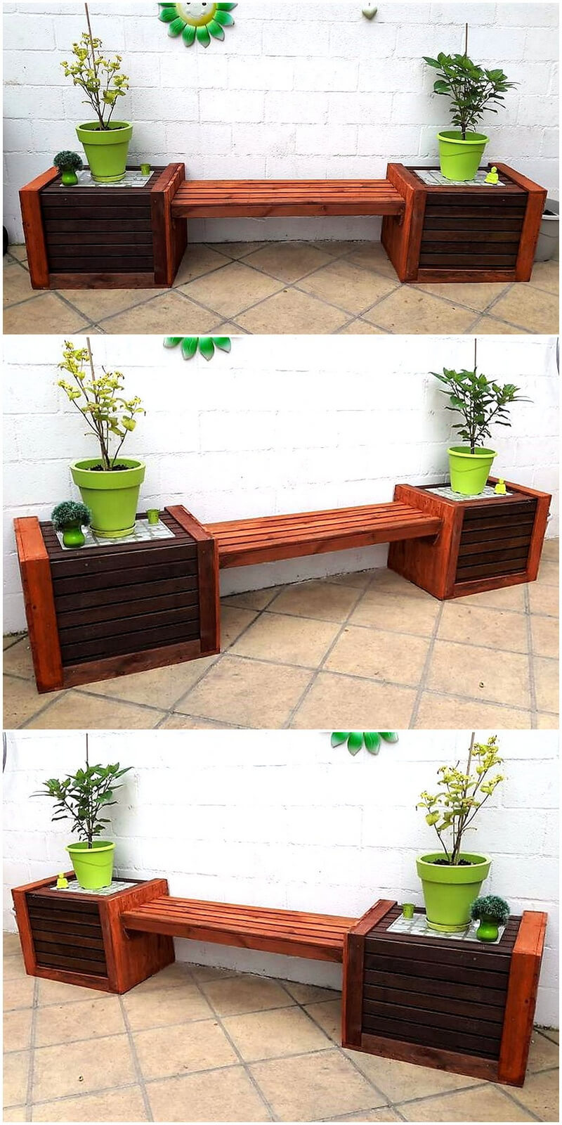pallets patio bench with attached planters