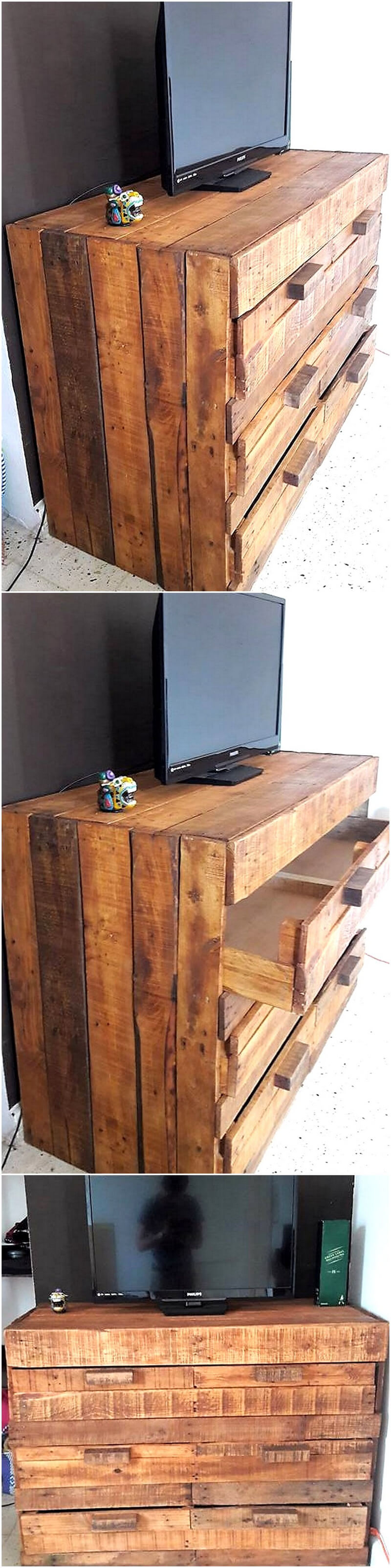 pallets rustic look tv stand