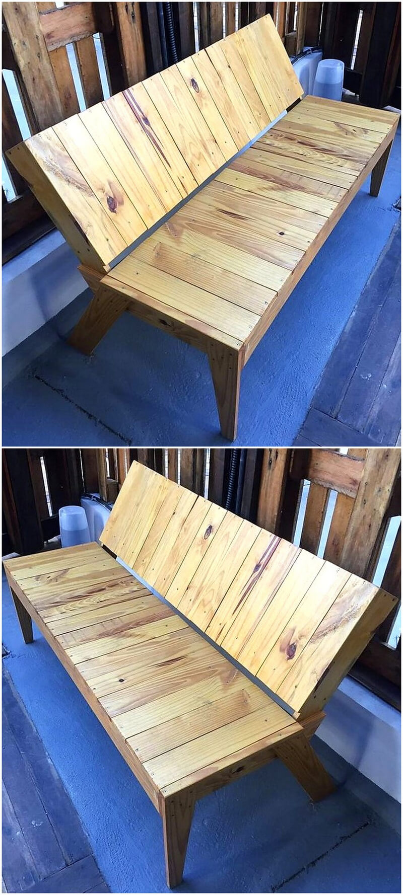 pallets wood made bench