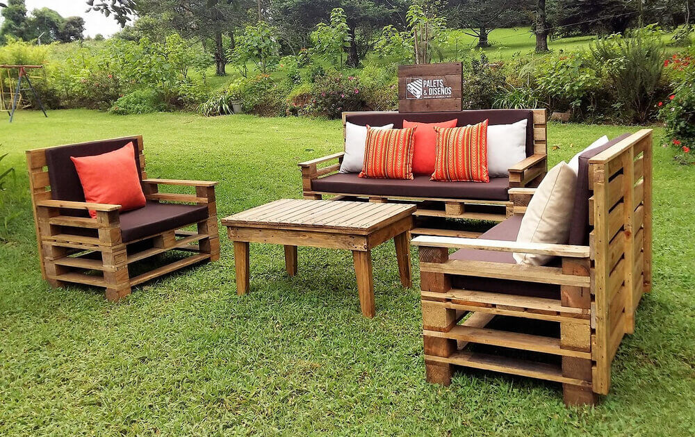 Recycled Wooden Pallet Patio Garden Sofa Set Pallet Ideas