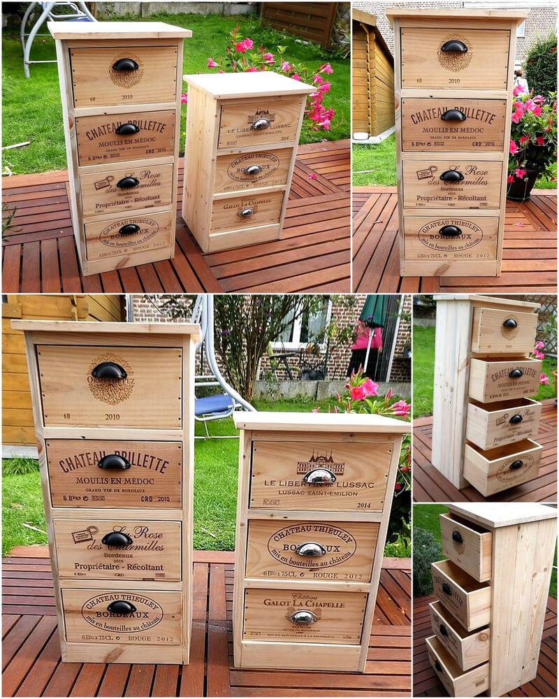 pallets wooden made nightstand ideas