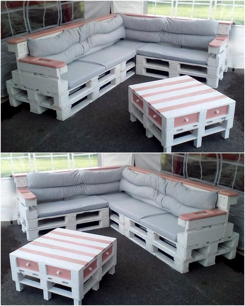 recycled wood pallets sofa set