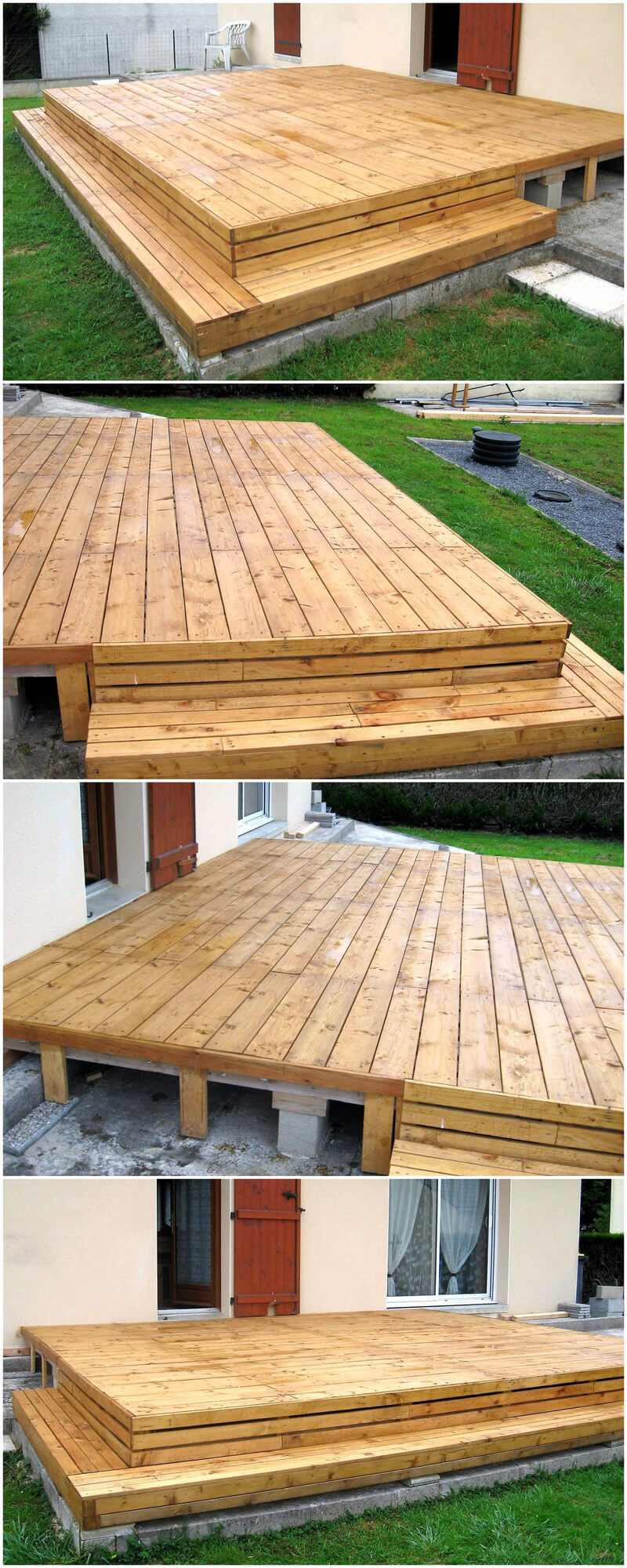 repurposed pallets wood outdoor terrace