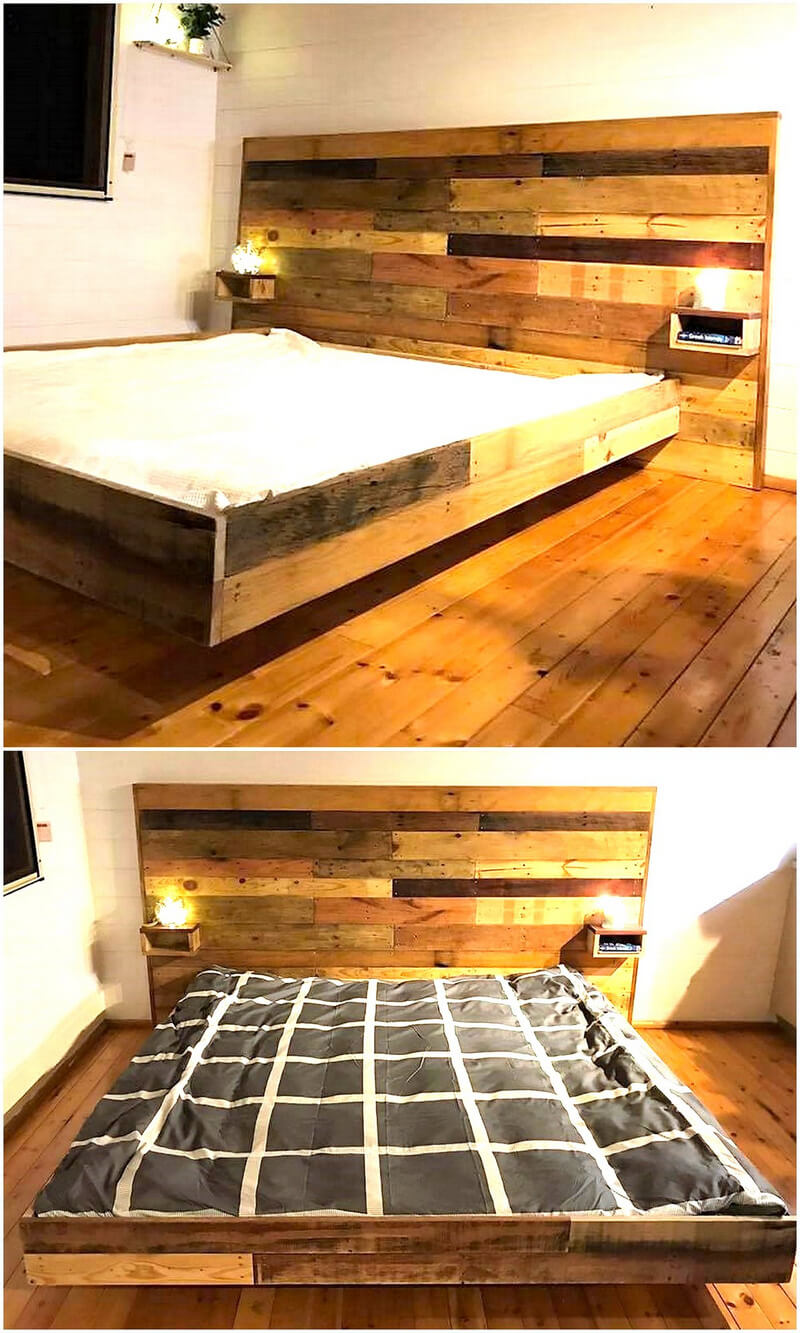repurposed pallets wooden bed with headboard