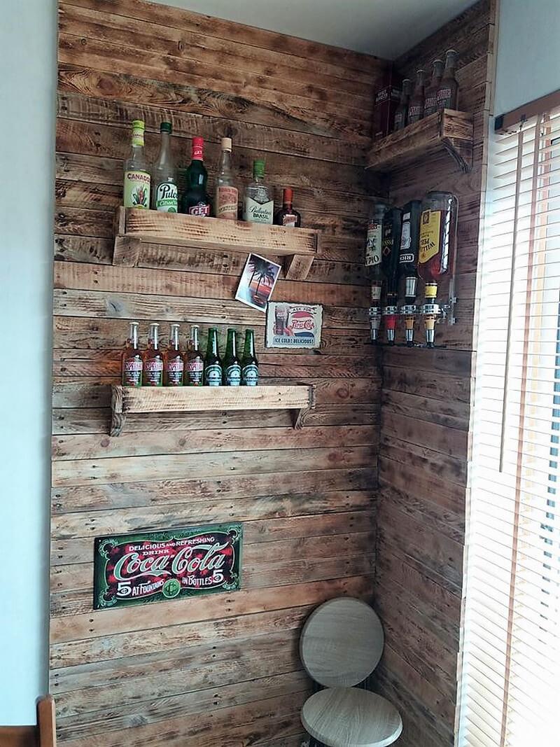 wood pallet indoor wall bar idea