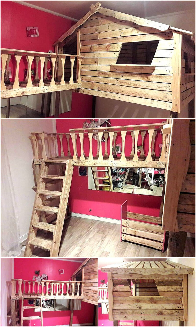 wood pallets kids indoor playhouse idea
