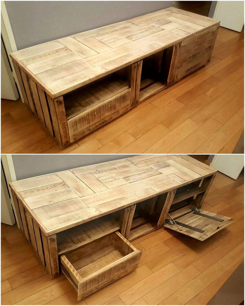 wood pallets media cabinet