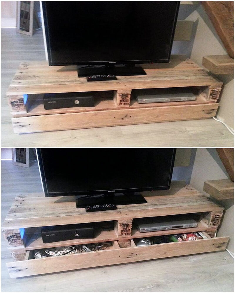 wood pallets tv stand with drawers idea