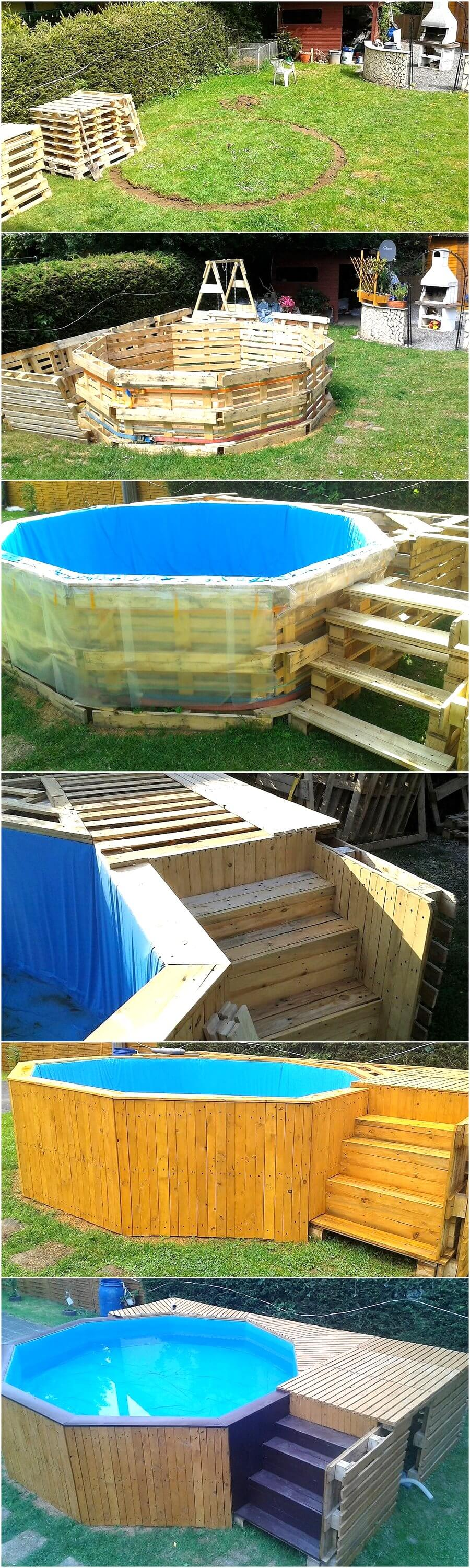 Diy reclaimed wood pallets garden pool plan pallet ideas for Garden pool made from pallets