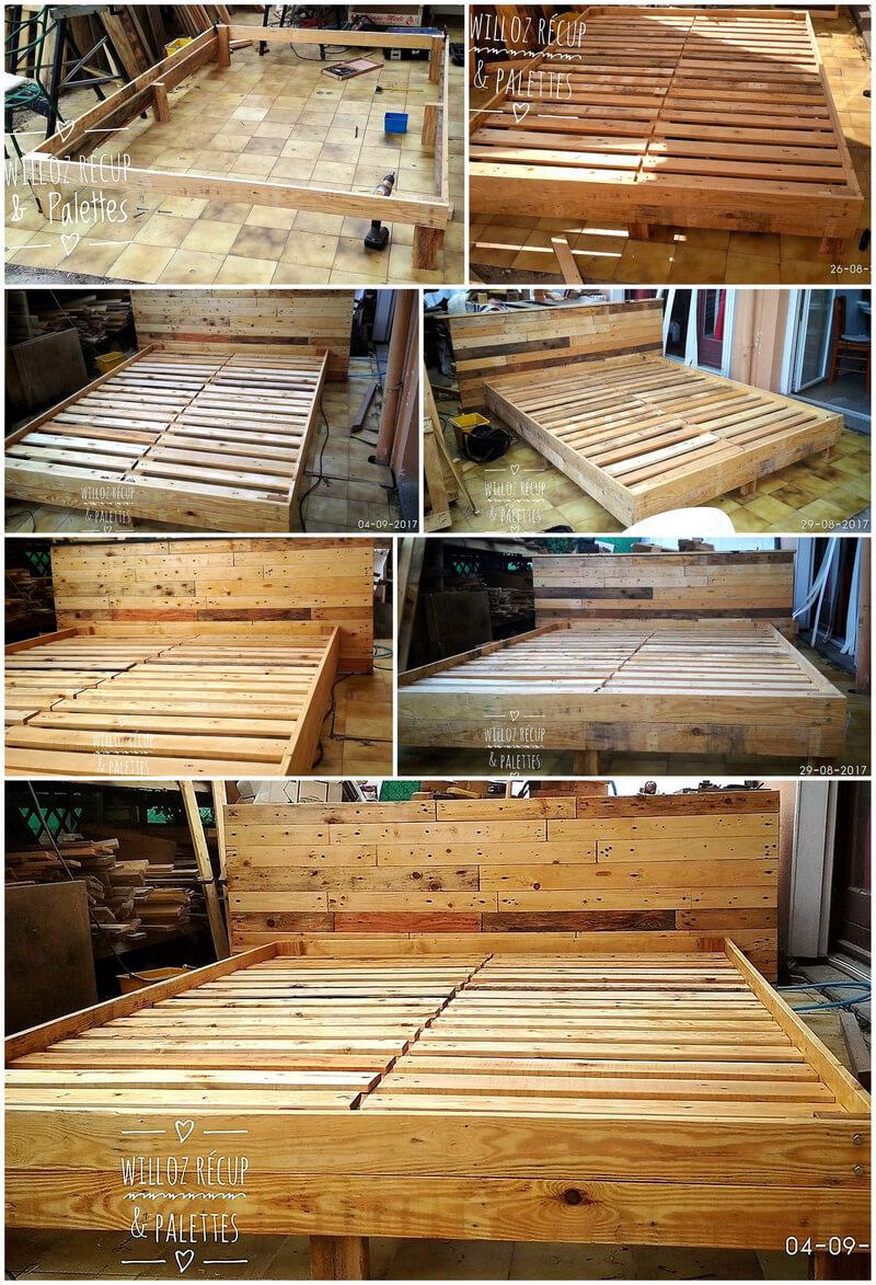 diy pallets wooden bed frame plan
