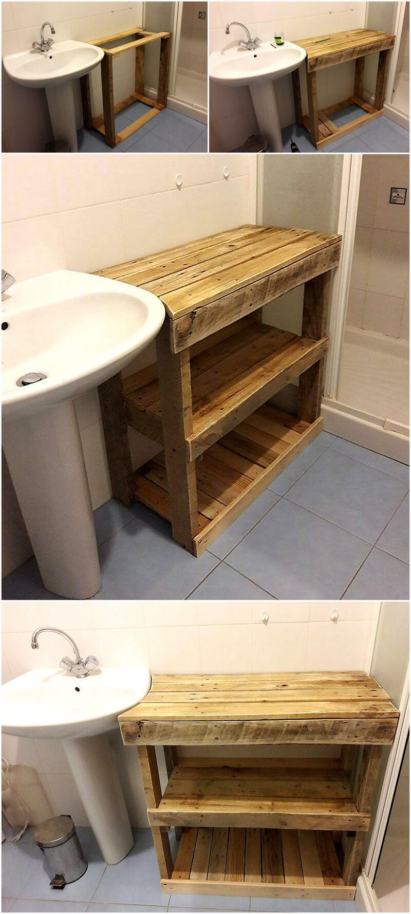 diy wood pallet sink side table