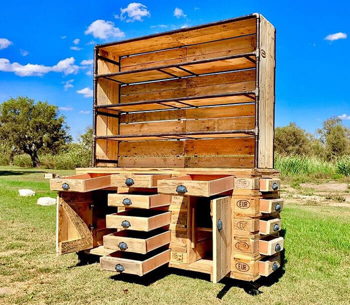 pallets drawers and shelves cabinet