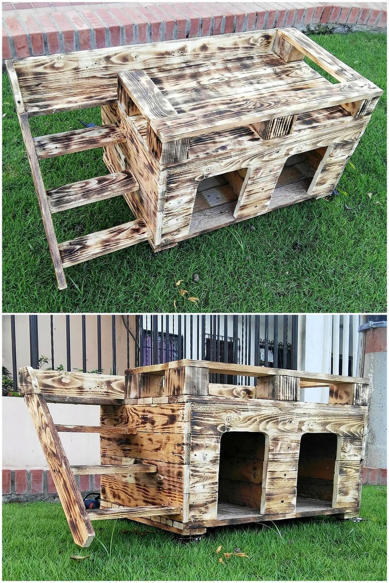 pallets made dog house cum bed