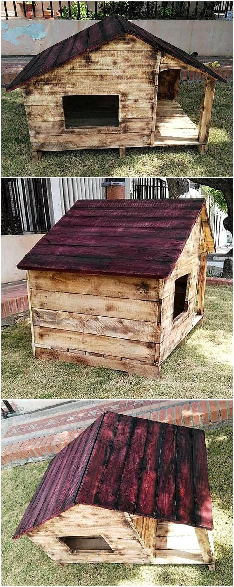 pallets made dog house plan
