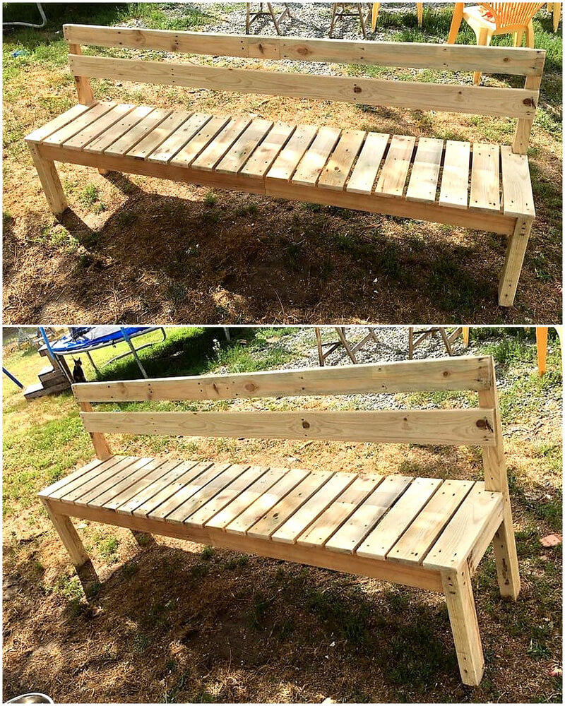 pallets made giant garden bench