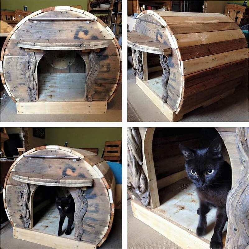 recycled cable reel cat house