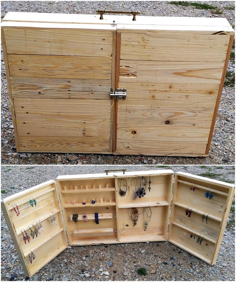 recycled pallets jewelry display box