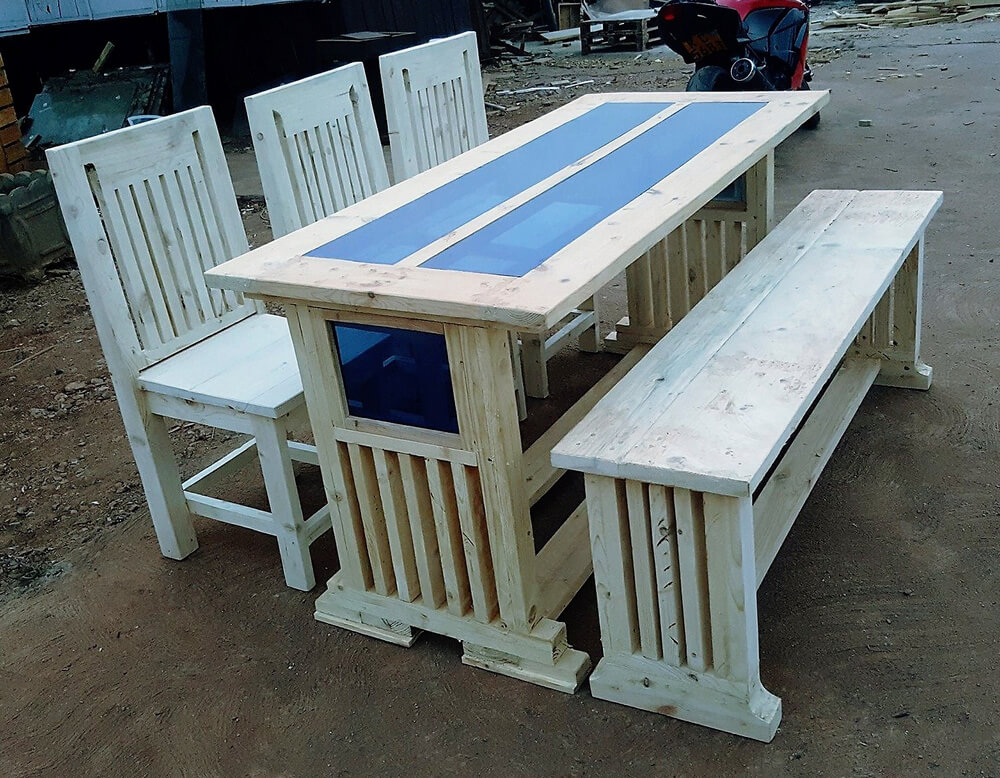 Recycled Wooden Pallets 6 Seater Dining Set Pallet Ideas