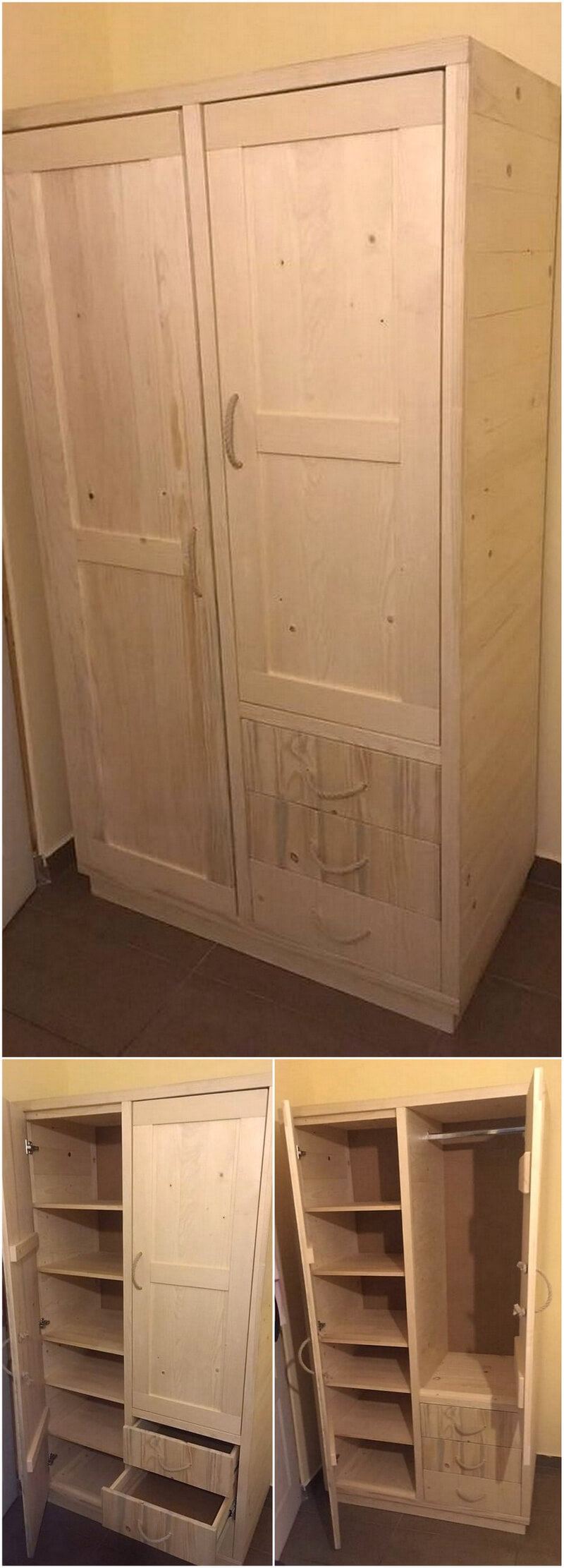 repurposed pallets closet plan