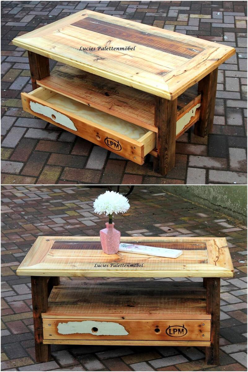 retro look pallet coffee table